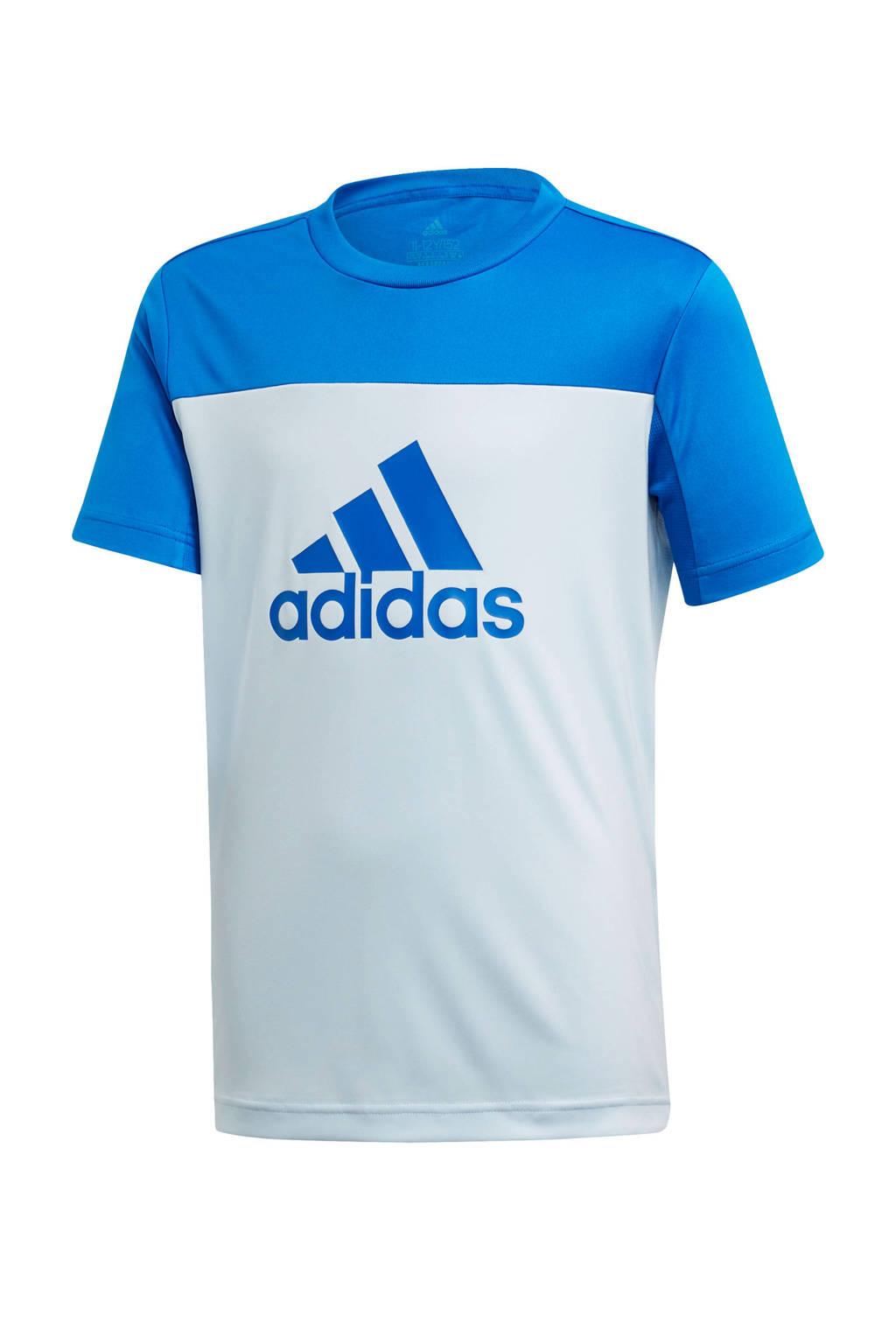 adidas Performance   sport T-shirt wit/blauw, Wit/blauw