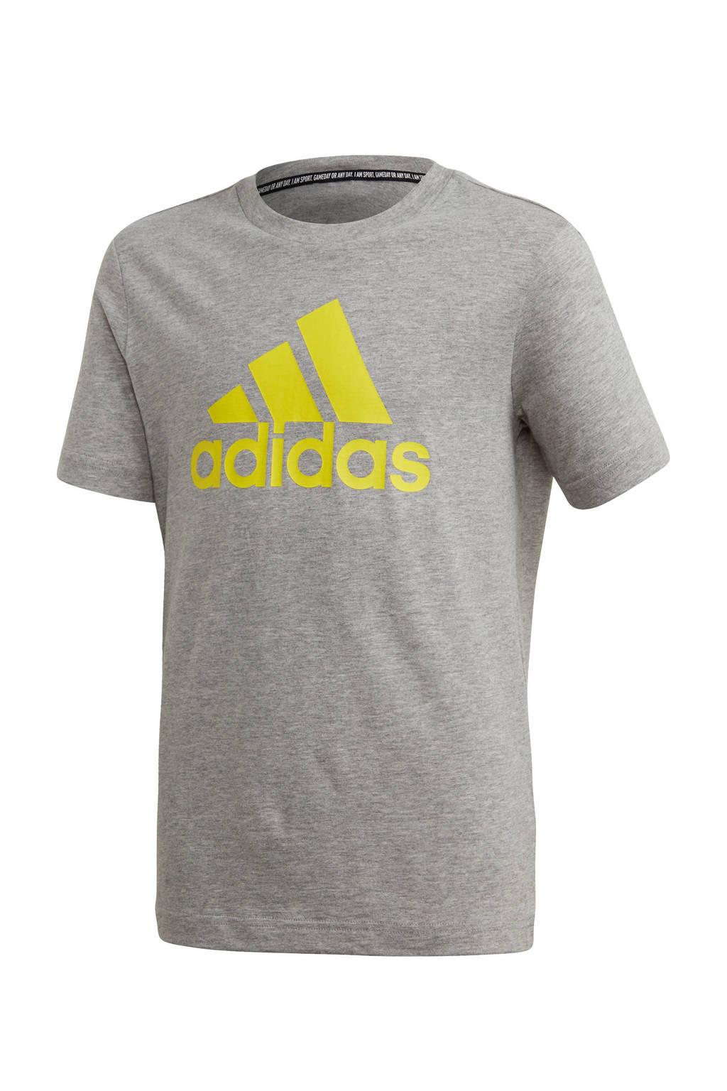 adidas   sport T-shirt grijs melange/limegroen