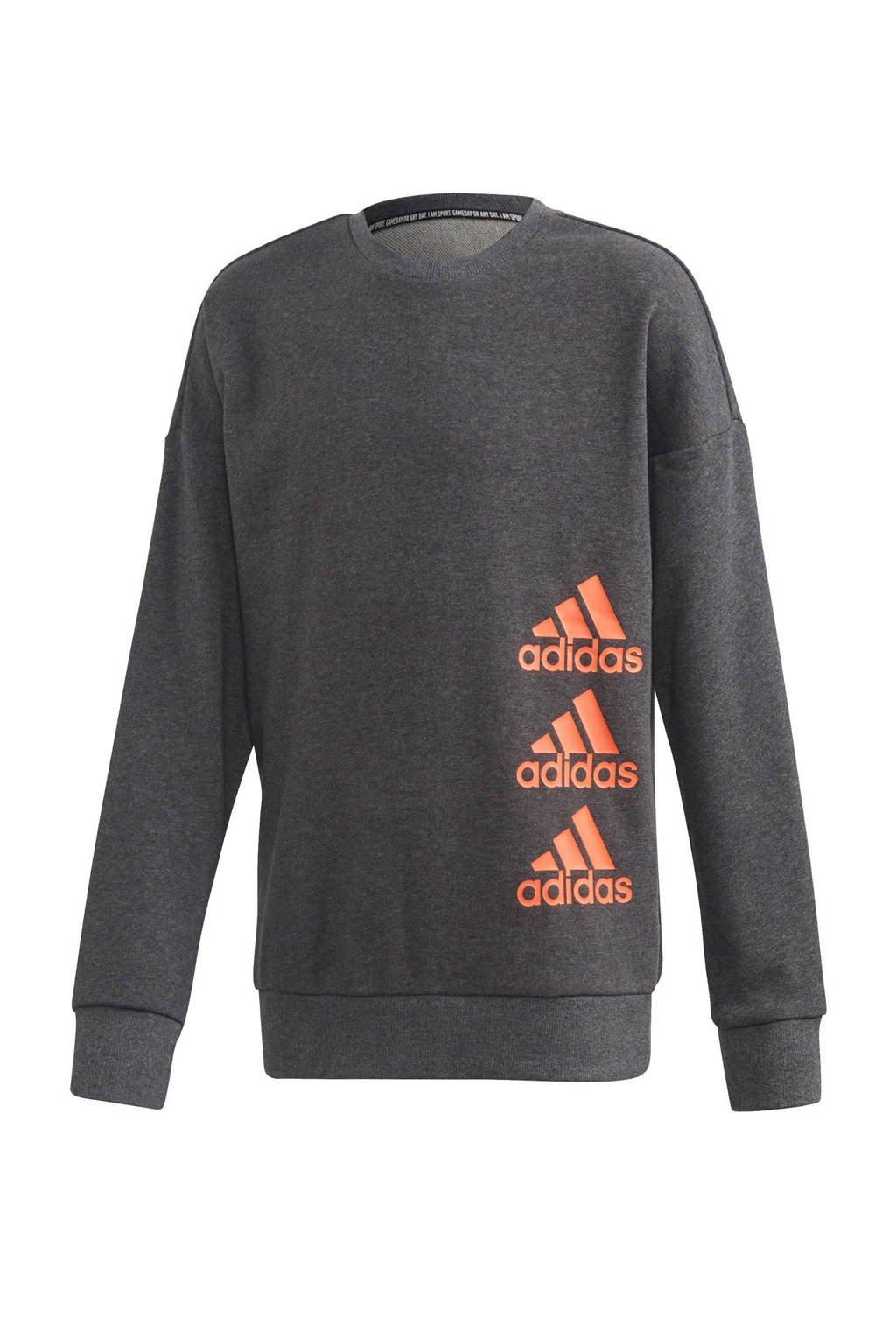 adidas sportsweater antraciet/oranje, Antraciet/oranje