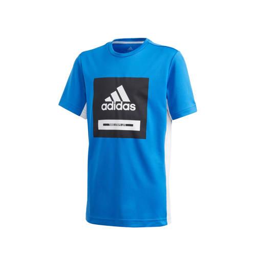 adidas Performance sport T-shirt blauw/zwart