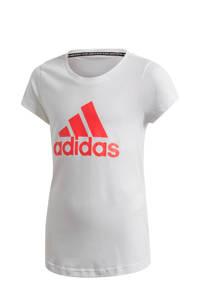 adidas sport T-shirt wit/koraalrood, Wit/koraalrood