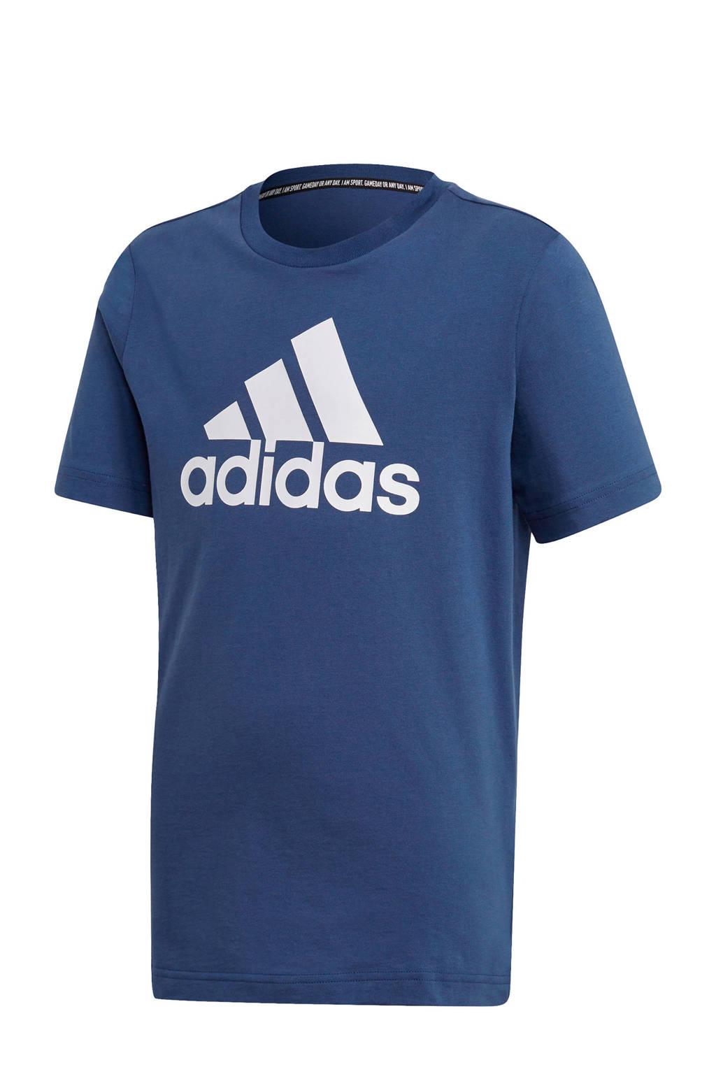 adidas   sport T-shirt blauw/wit, Blauw/wit