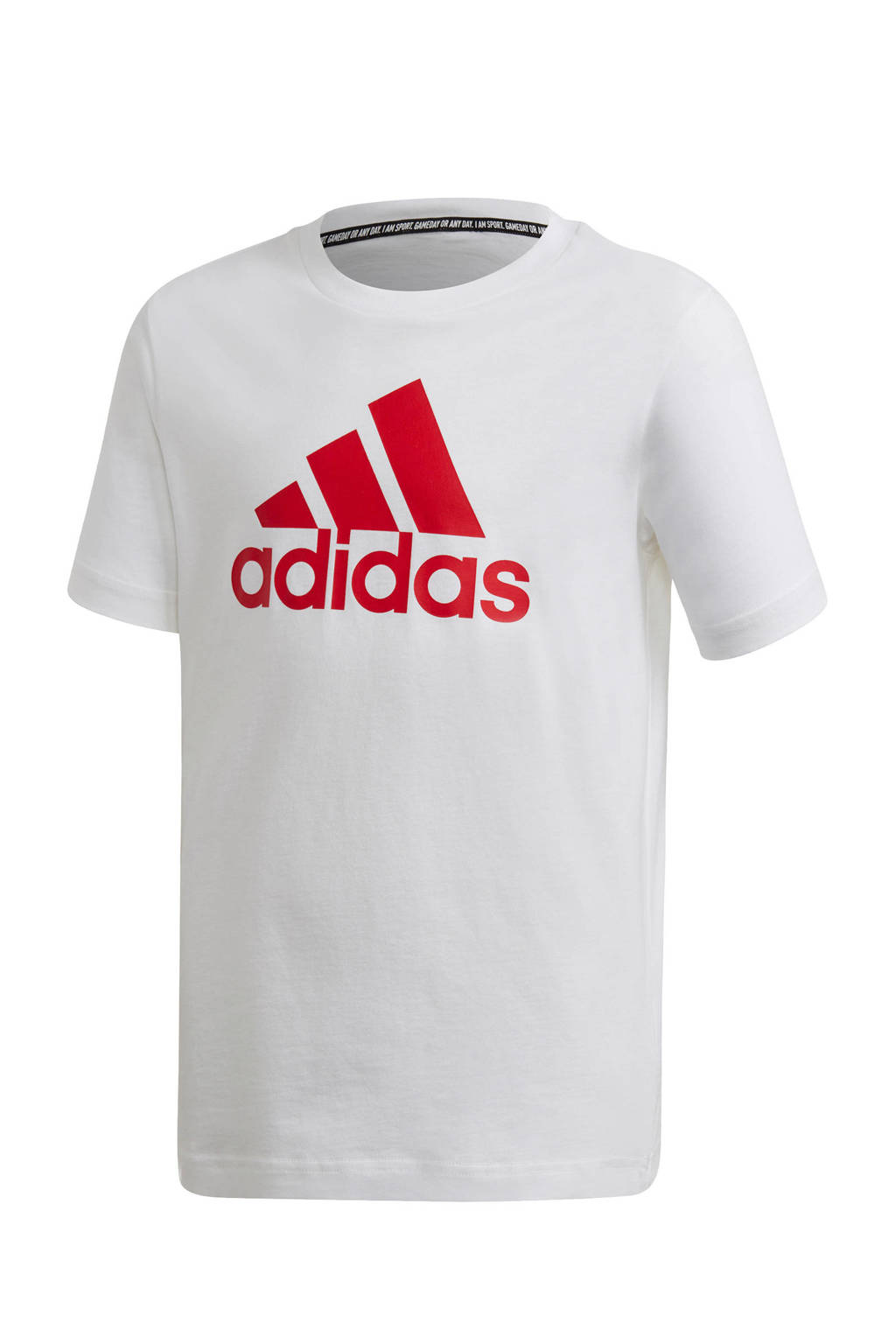 adidas   sport T-shirt wit/rood, Wit/rood