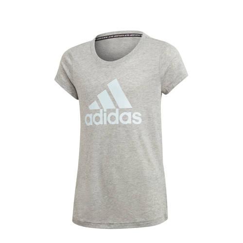 adidas Performance sport T-shirt grijs melange/wit