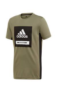 adidas   sport T-shirt olijfgroen/zwart, Olijfgroen/zwart