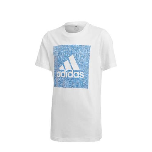 adidas Performance sport T-shirt wit/blauw