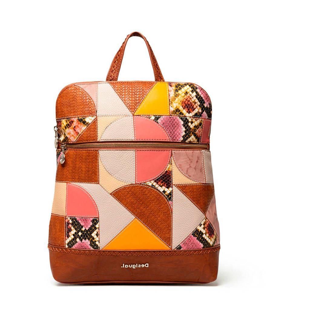 Desigual   rugtas met kleurvlakken camel, Camel / roze / beige