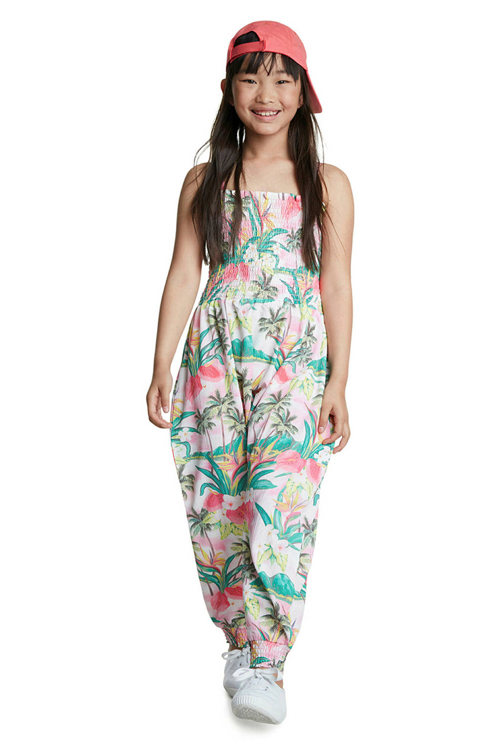 Desigual jumpsuit met all over print roze/groen, Roze/groen