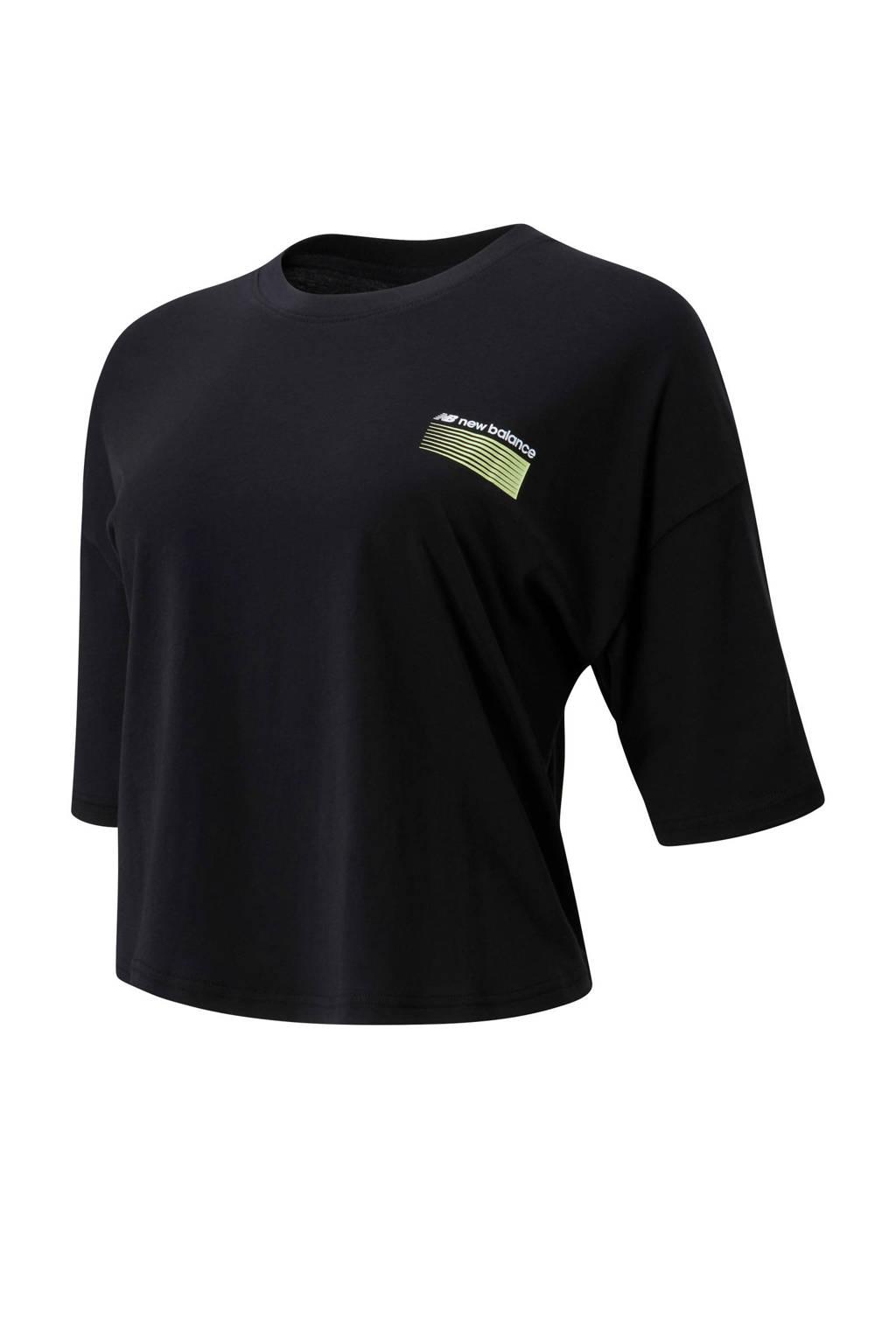 New Balance cropped T-shirt zwart, Zwart