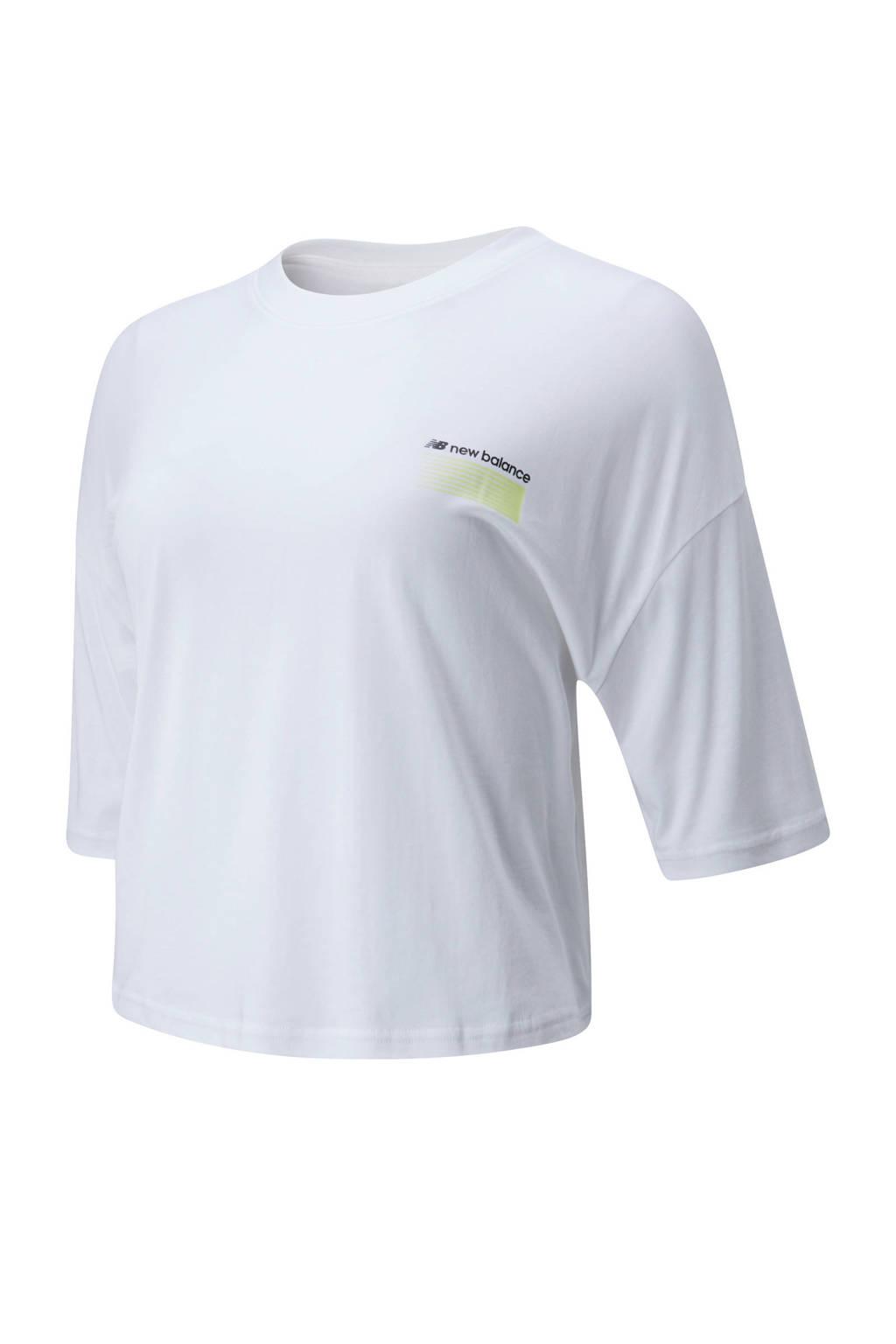 New Balance cropped T-shirt wit, Wit