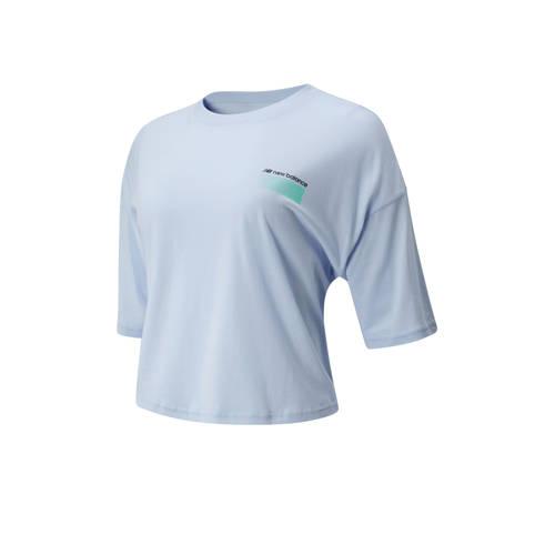 New Balance cropped T-shirt lichtblauw