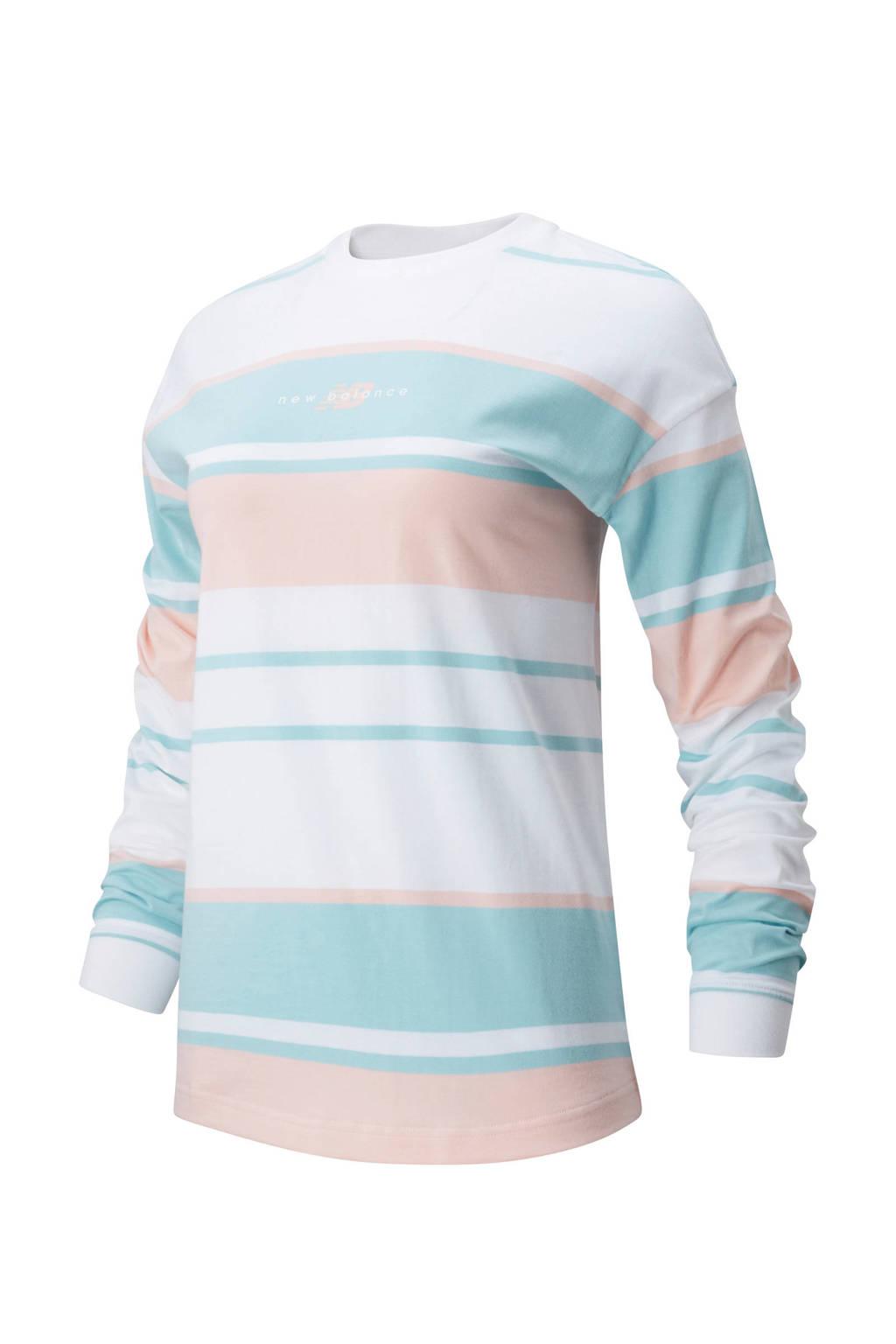 New Balance T-shirt lichtblauw/oranje/wit, Lichtblauw/oranje/wit