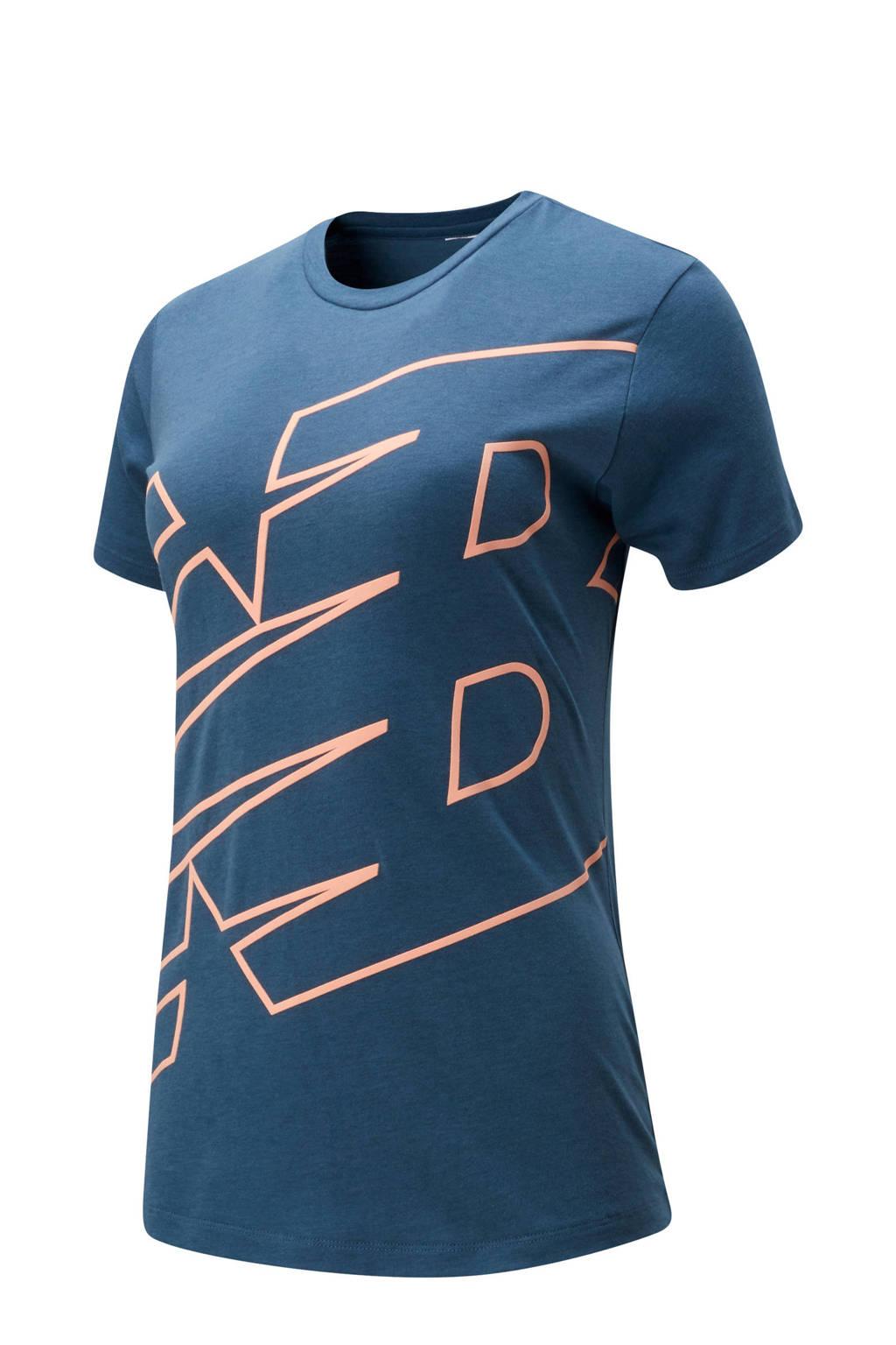 New Balance sport T-shirt blauw, Blauw