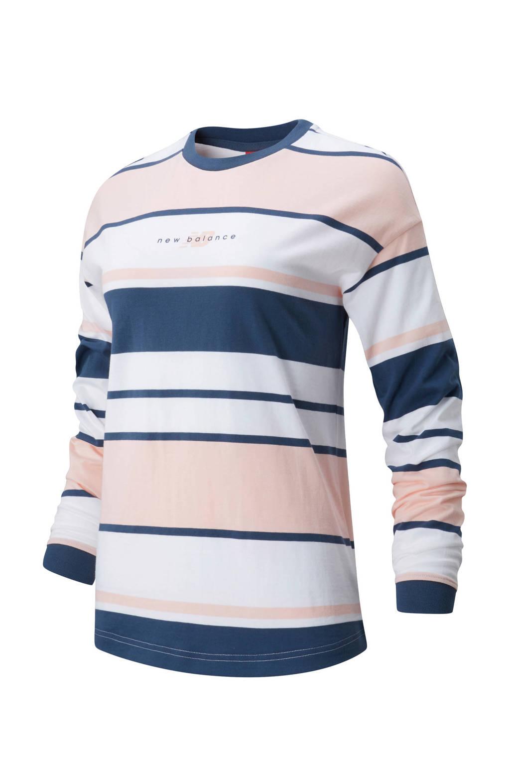 New Balance T-shirt donkerblauw/oranje/wit, Donkerblauw/oranje/wit