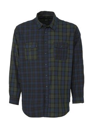 XL Canda geruit regular fit overhemd van biologisch katoen donkerblauw