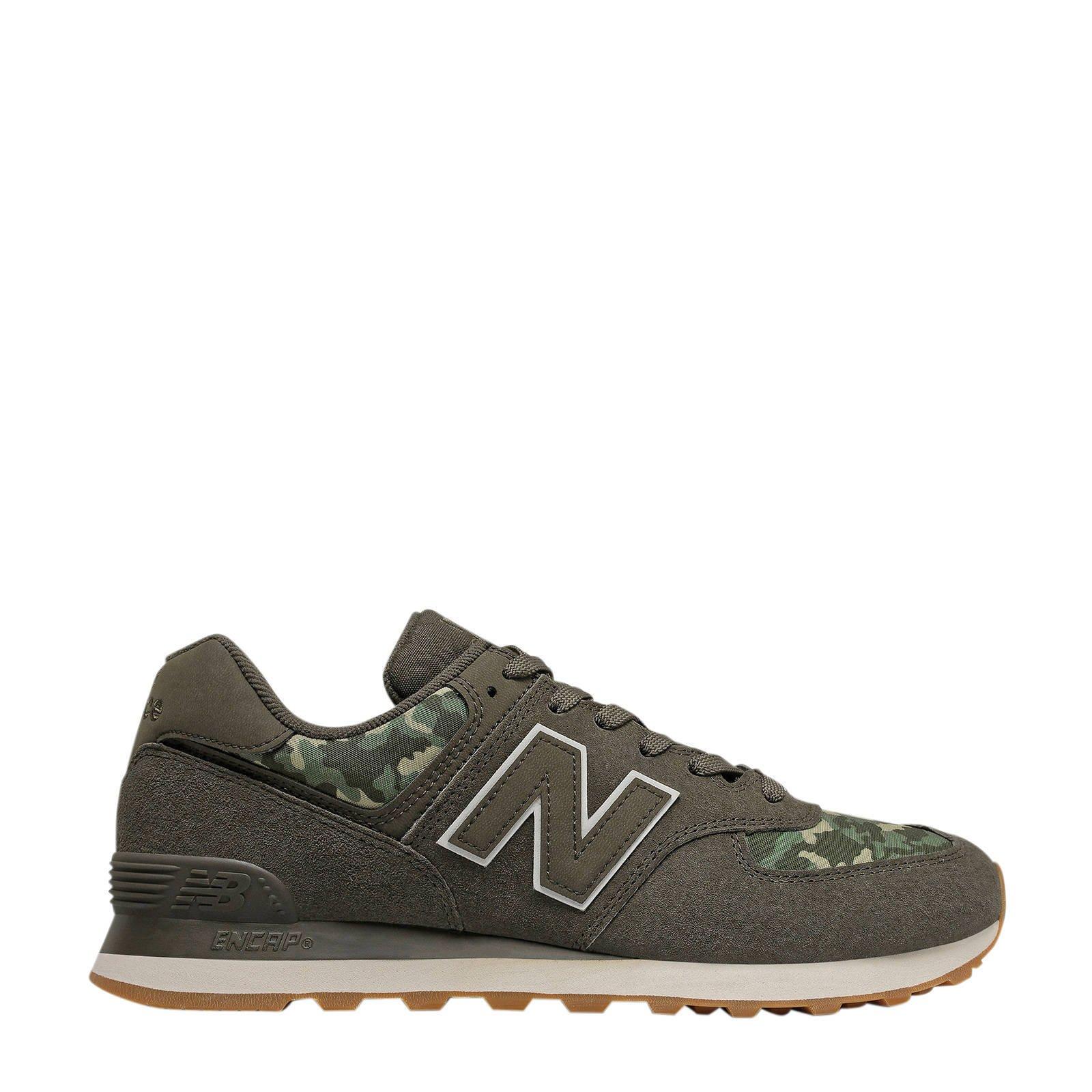 New Balance 574 sneakers camouflage groen/donkergroen | wehkamp