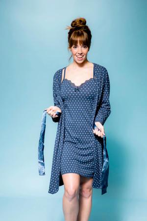 badjas met all over print blauw