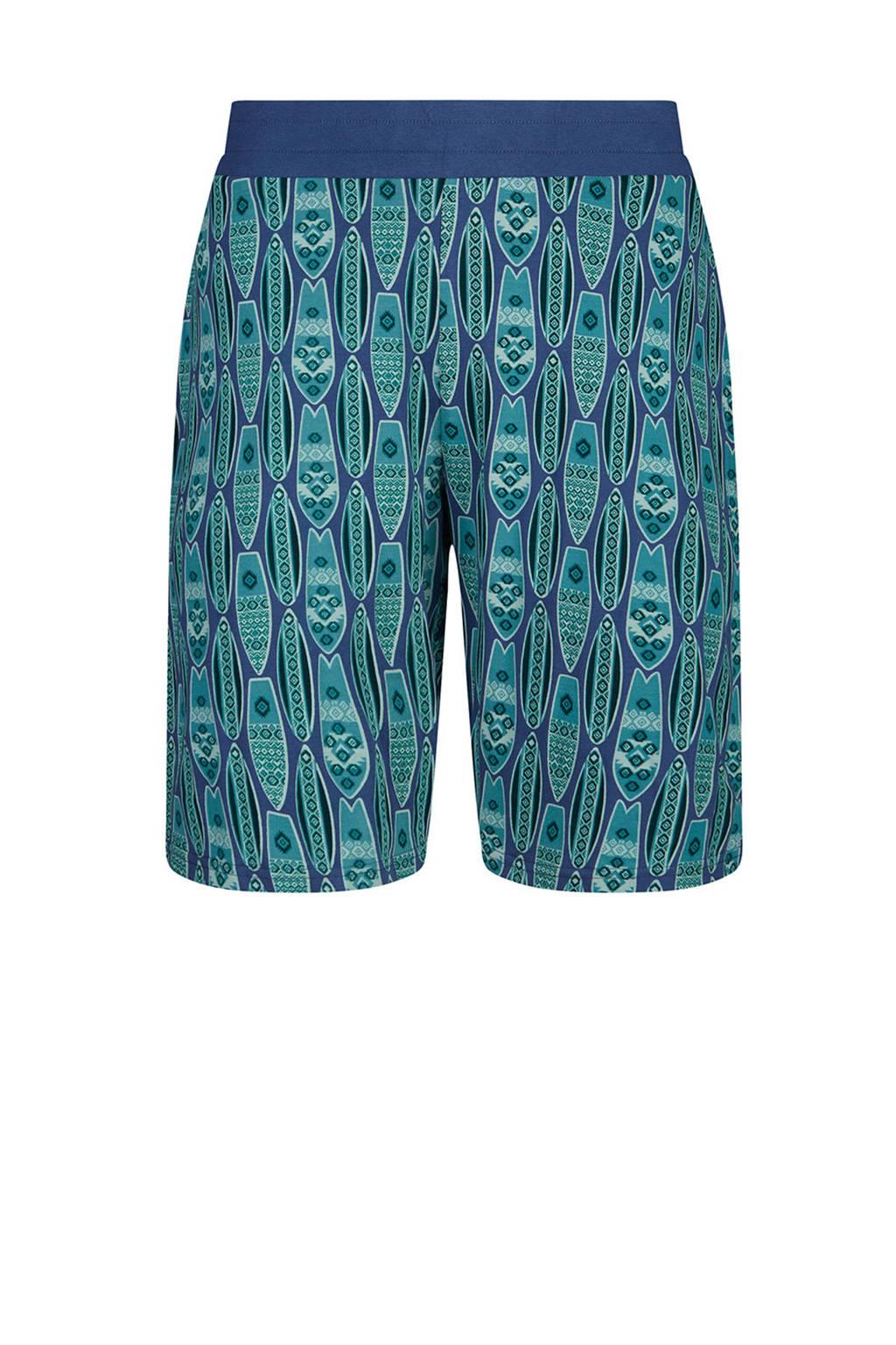 Charlie Choe pyjamashort met all over print blauw, Blauw/groen