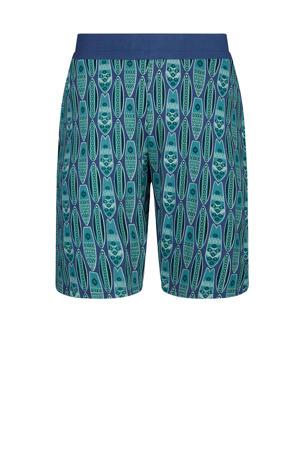 pyjamashort met all over print blauw