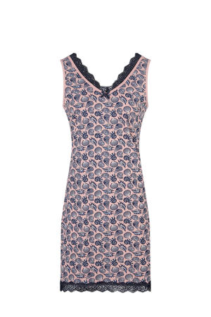 mouwloos nachthemd met all over print roze/donkerblauw