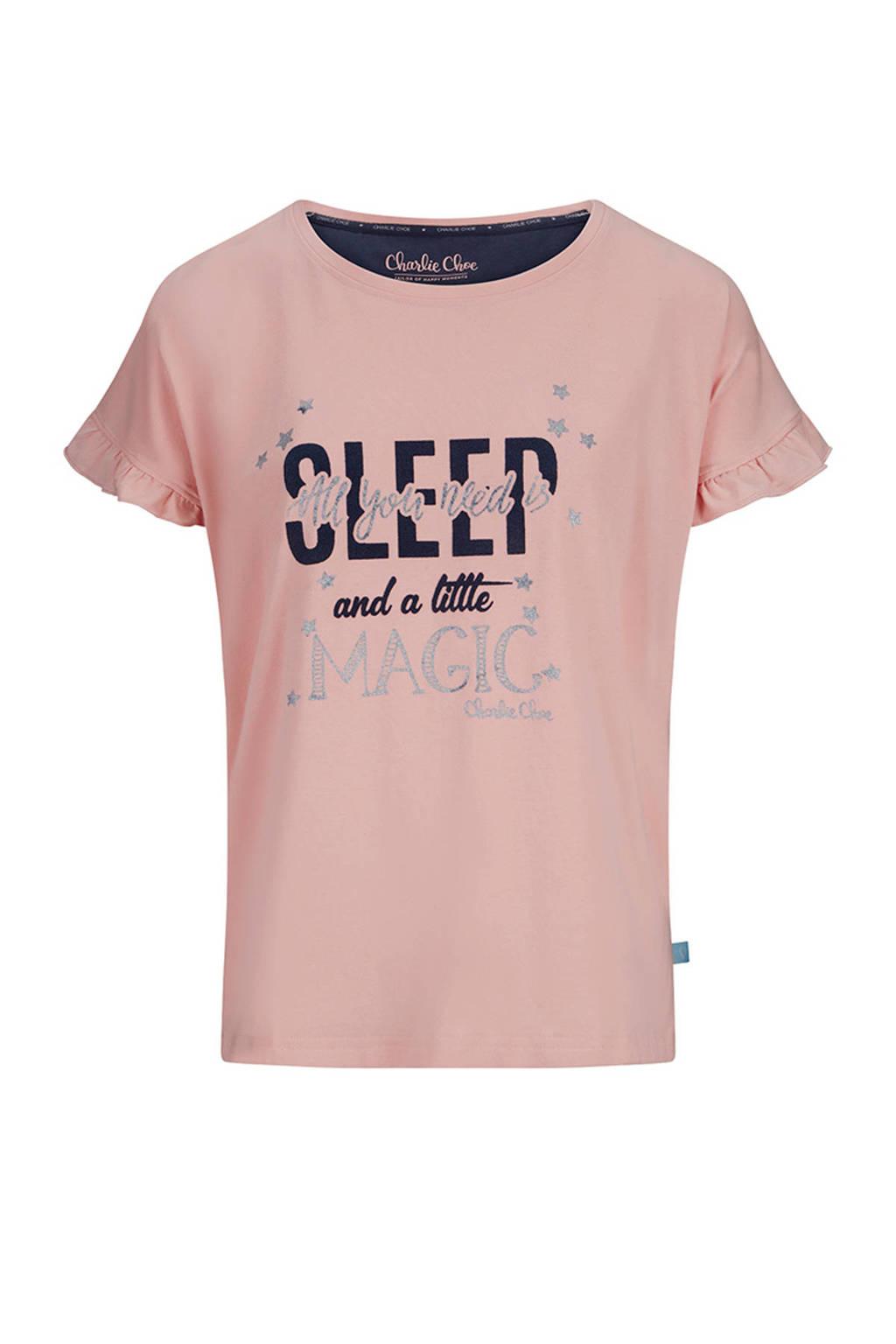 Charlie Choe pyjamatop met printopdruk roze, Roze