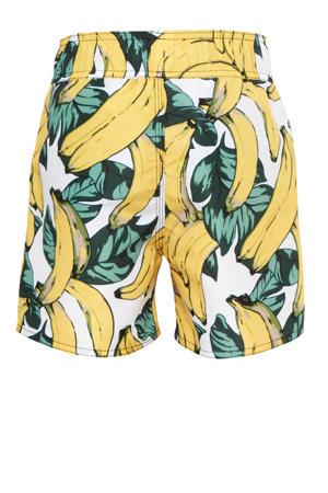 zwemshort met bananen print wit/geel