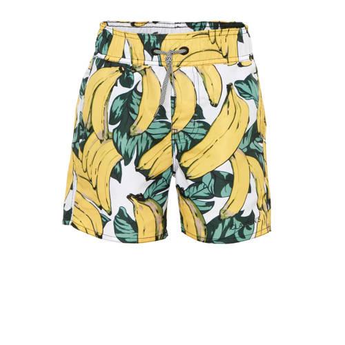 Claesen's zwemshort met bananen print wit/geel