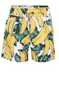 Claesen's zwemshort met bananen print wit/geel, Wit/geel/groen