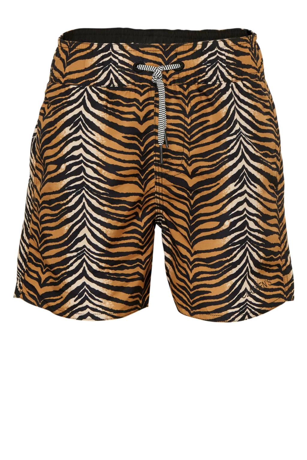 Claesen's zwemshort met zebraprint bruin, bruin/zwart/wit