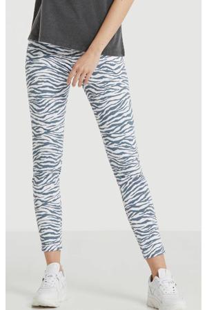 skinny jeans Tanya X met zebraprint wit/blauw
