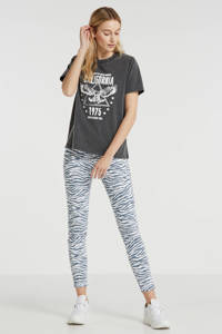 LTB skinny jeans Tanya X met zebraprint wit/blauw, Wit/blauw
