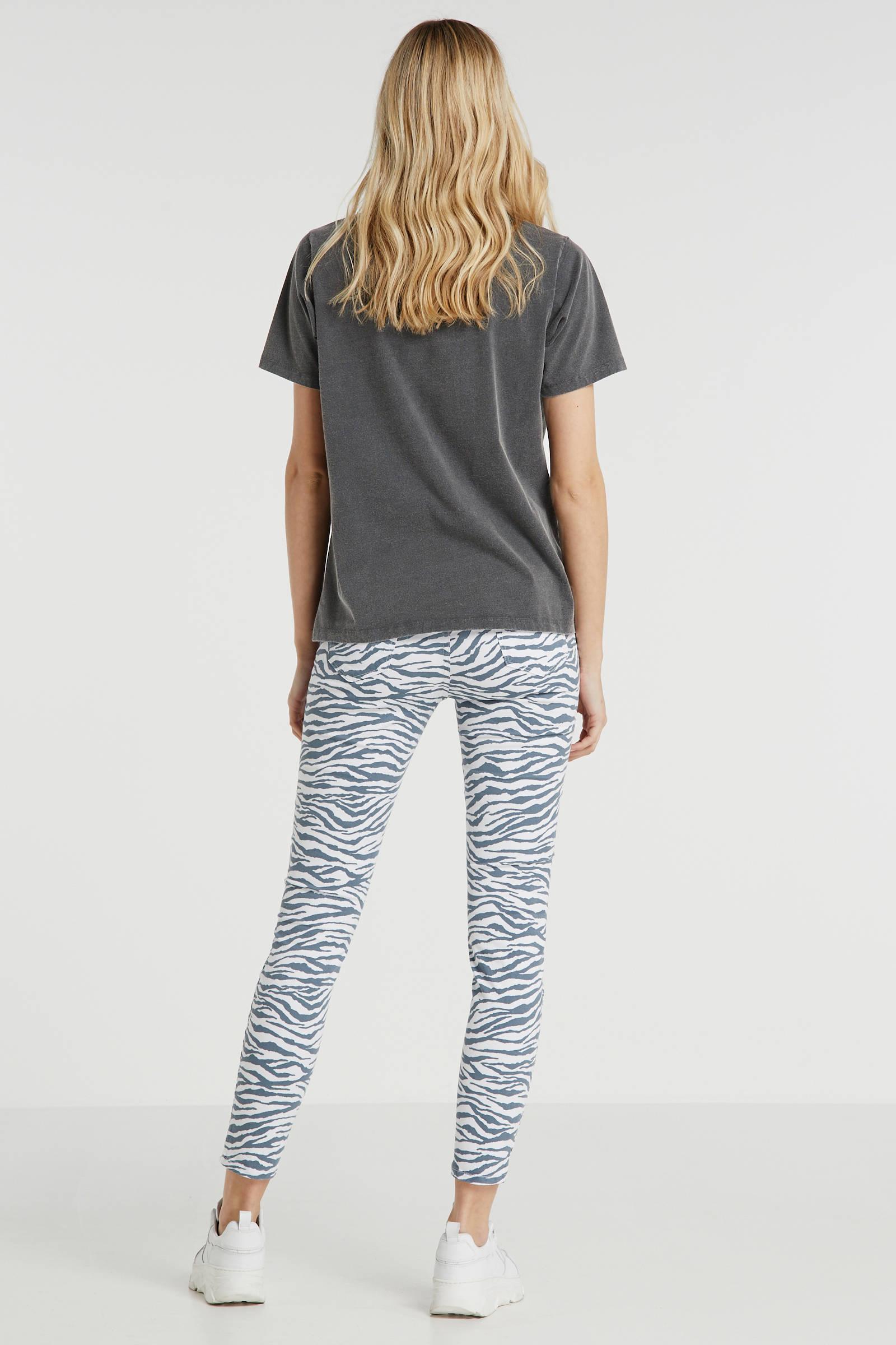 skinny jeans Tanya X met zebraprint witblauw
