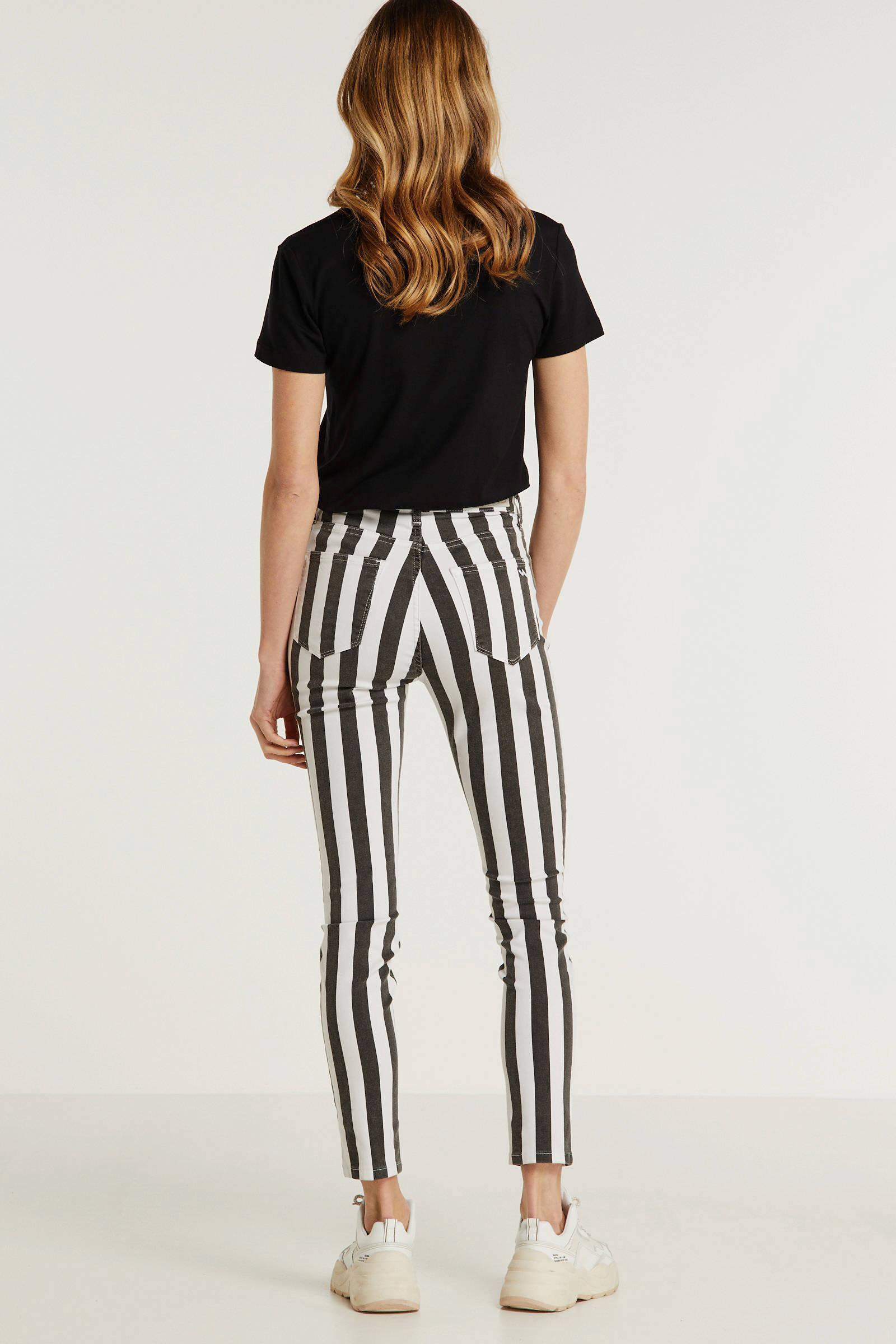LTB gestreepte high waist skinny broek Tanya X zwartwit