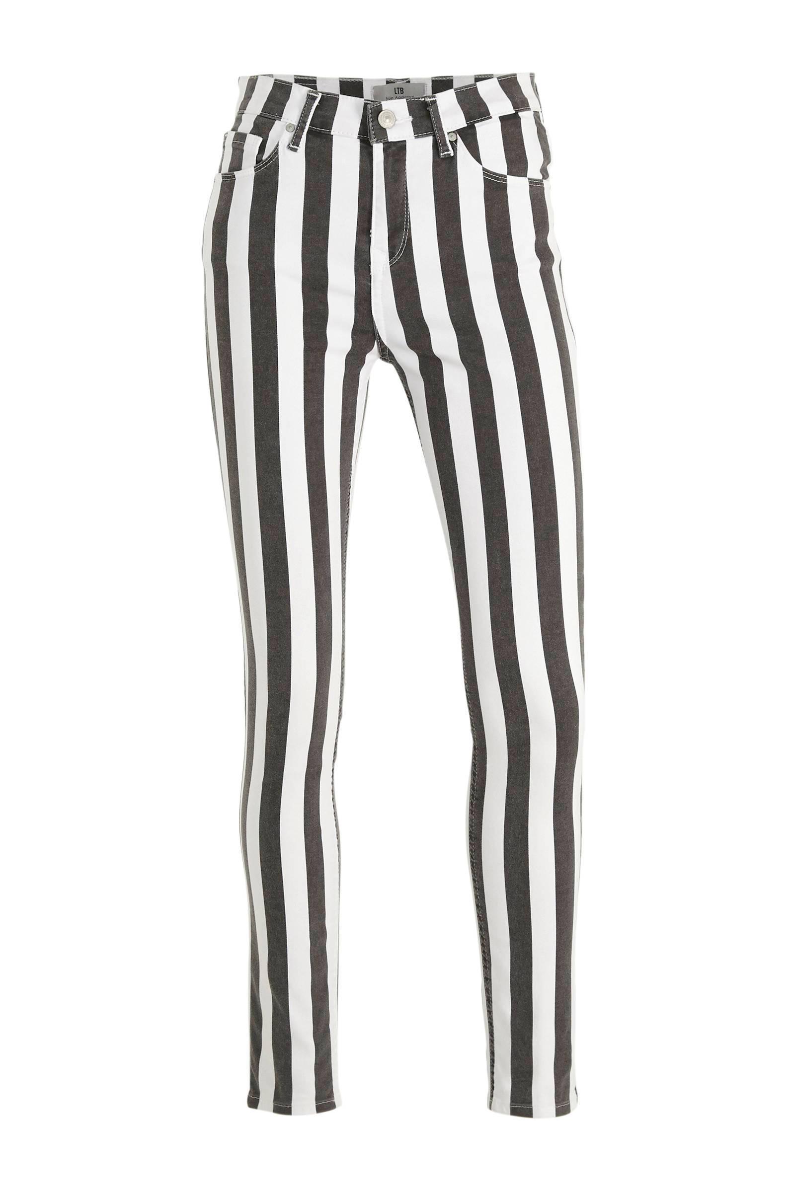 gestreepte high waist skinny broek Tanya X zwartwit