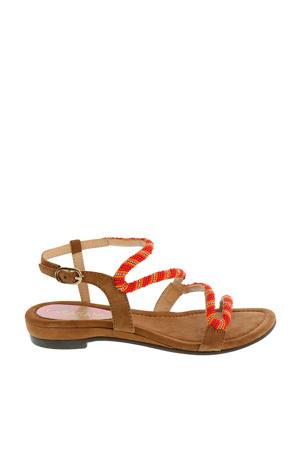 leren sandalen met kraaltjes rood