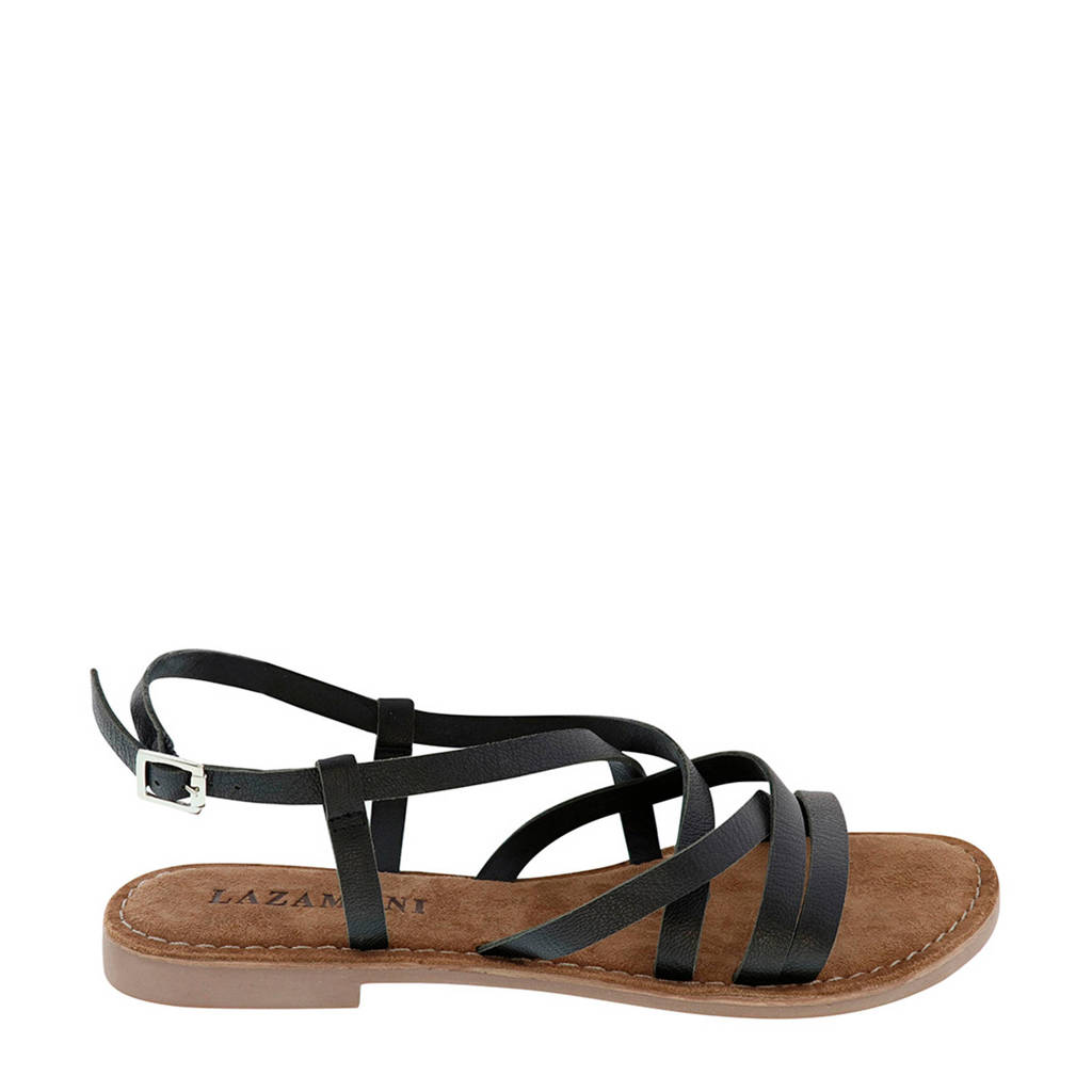 Lazamani   leren sandalen zwart, Zwart