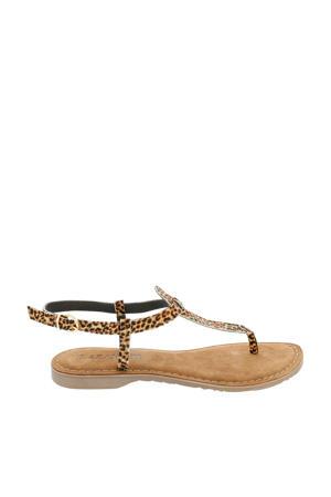 leren sandalen panterprint bruin