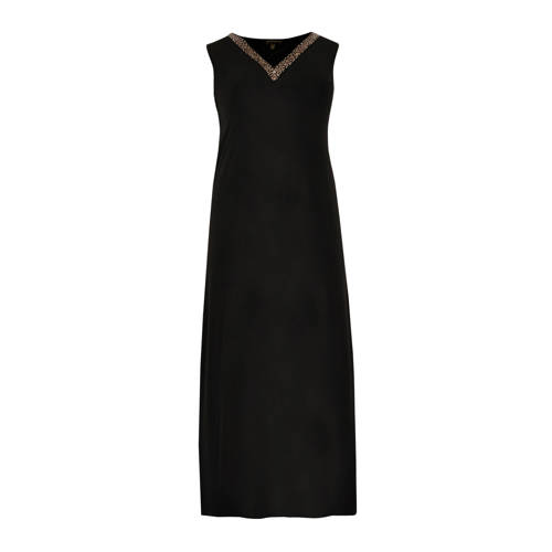 Yoek jersey jurk zwart