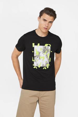 T-shirt met printopdruk zwart/wit/geel
