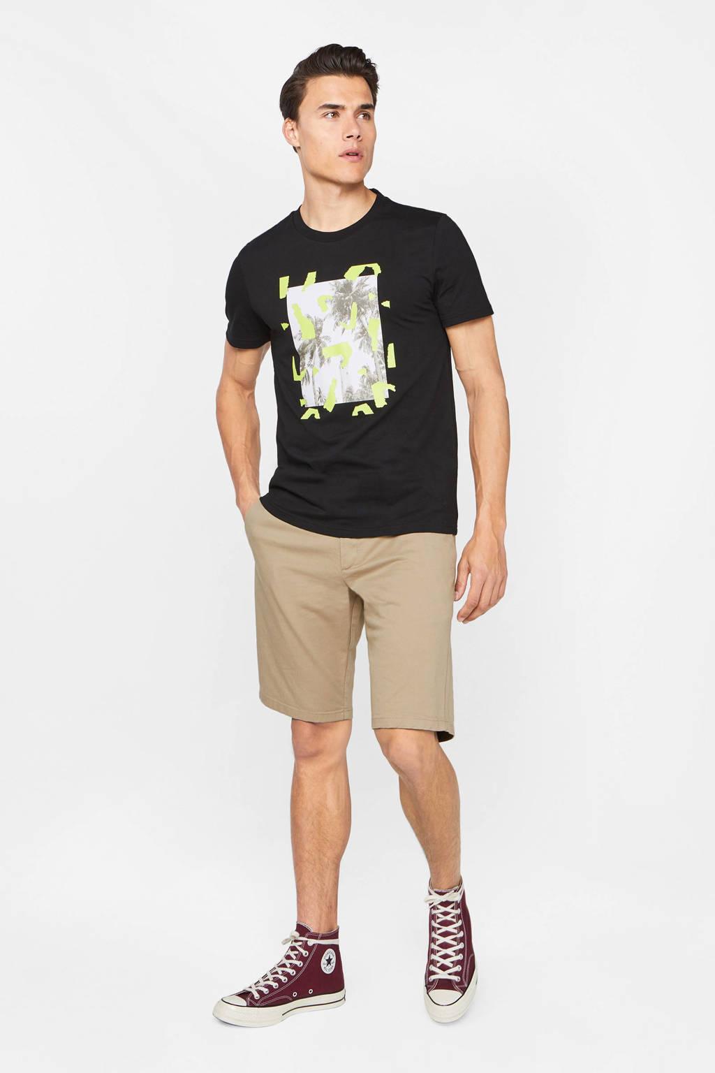 WE Fashion T-shirt met printopdruk zwart/wit/geel, Zwart/wit/geel