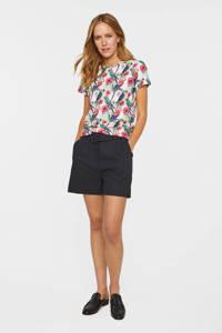 WE Fashion gestreepte high waist straight fit short met linnen donkergrijs, Donkergrijs