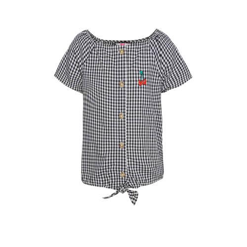 WE Fashion geruite top zwart/wit/rood