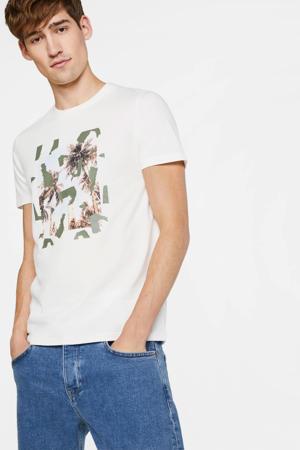 T-shirt met printopdruk wit/groen