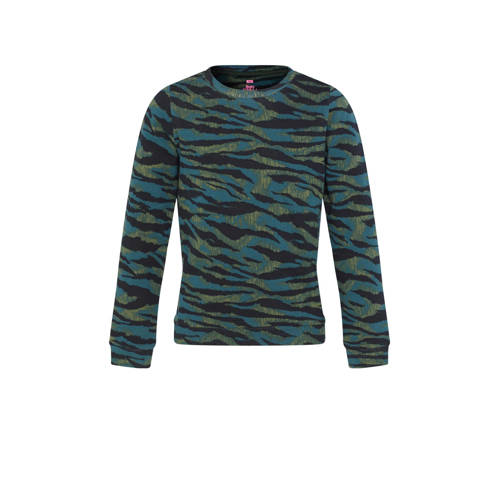 WE Fashion sweater met zebraprint groen/blauw/zwar