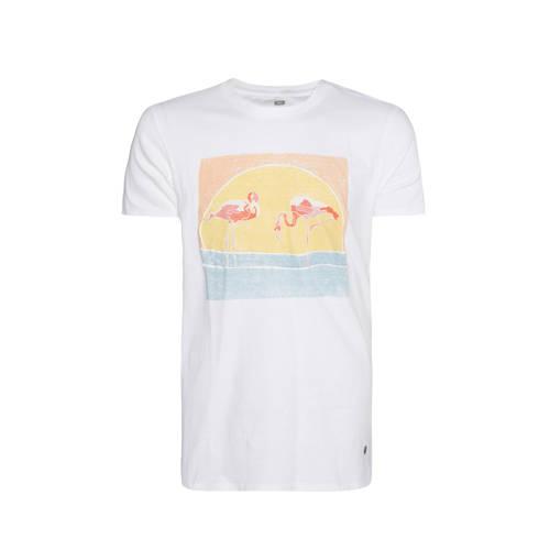WE Fashion T-shirt met printopdruk wit/geel/blauw