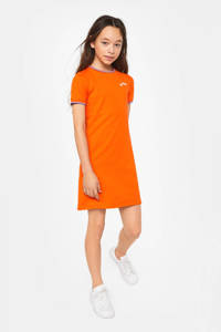 WE Fashion sweatjurk en borduursels oranje/rood/wit, Oranje/rood/wit