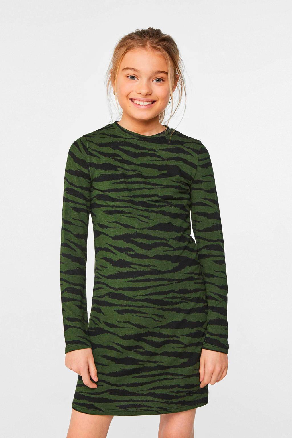 WE Fashion A-lijn jurk met dierenprint groen/zwart, Groen/zwart