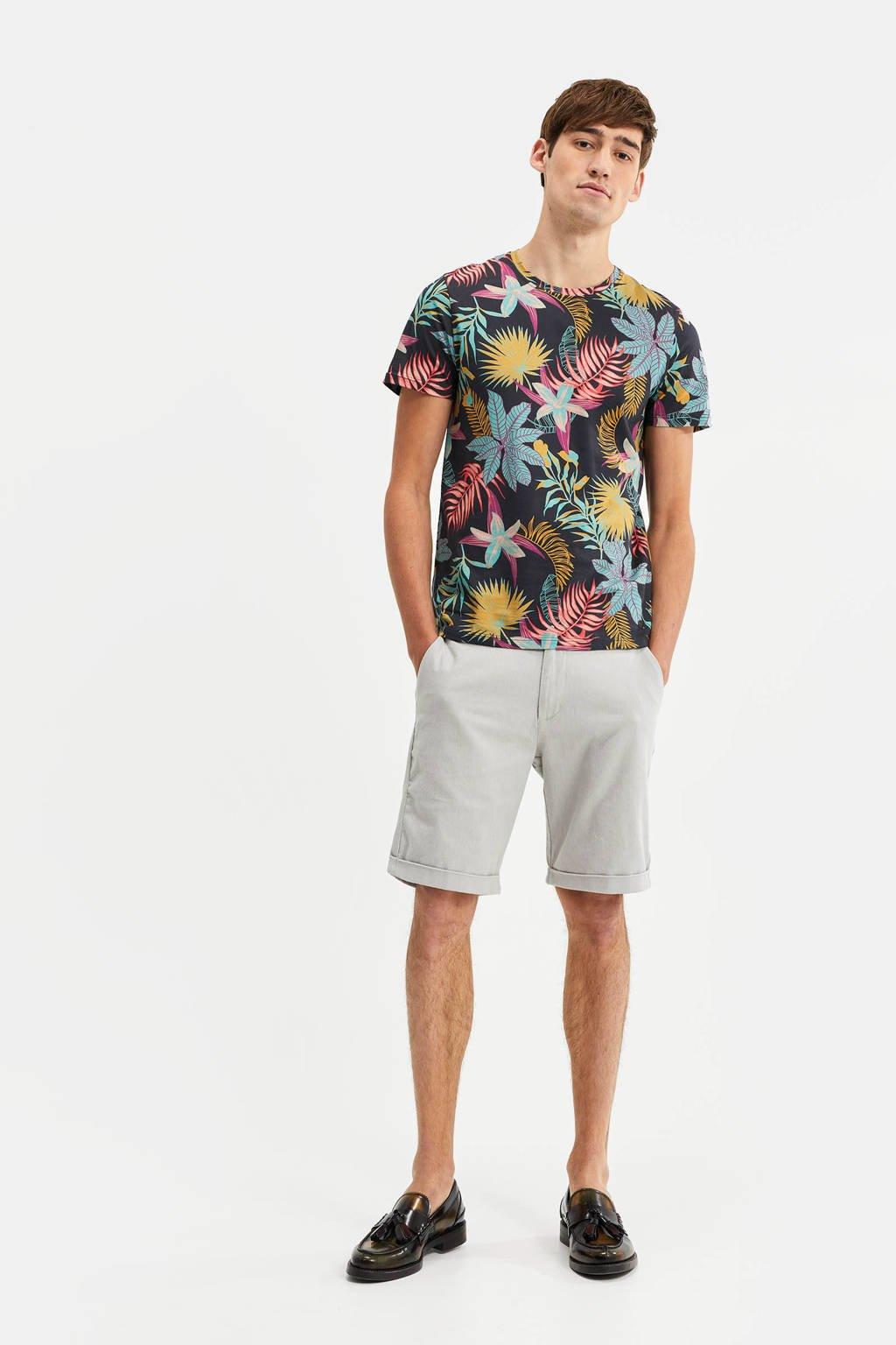 WE Fashion T-shirt met bladprint zwart/blauw/roze/groen, Zwart/blauw/roze/groen