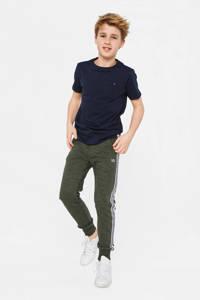 WE Fashion slim fit joggingbroek met zijstreep groen, Groen
