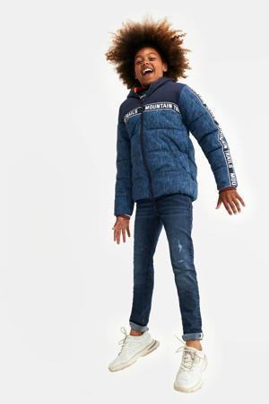 gewatteerde winterjas met contrastbies donkerblauw/blauw/wit
